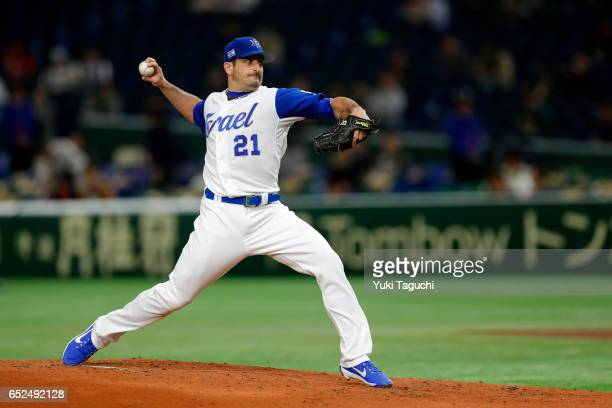 Jason Marquis of Team Israel pitches in the second inning during Game 1 of Pool E against Team Cuba at the Tokyo Dome on Sunday March 12 2017 in...