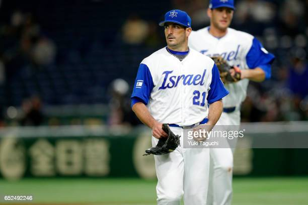 Jason Marquis of Team Israel walks back to dugout after the second inning during Game 1 of Pool E against Team Cuba at the Tokyo Dome on Sunday March...