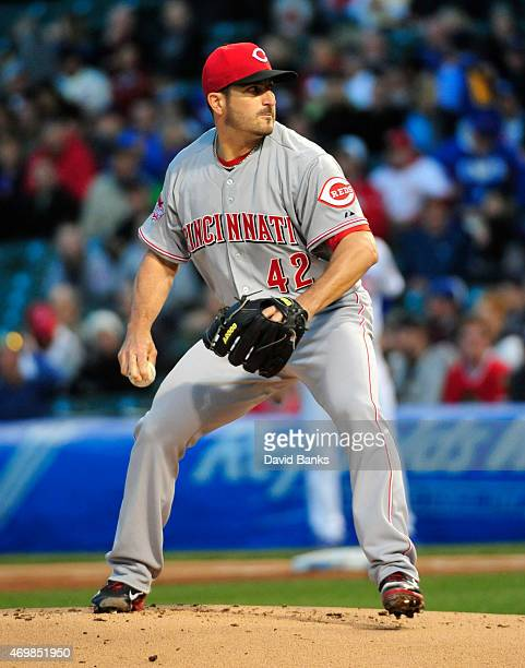 Jason Marquis of the Cincinnati Reds pitches against the Chicago Cubs during the first inning on April 15 2015 at Wrigley Field in Chicago Illinois...