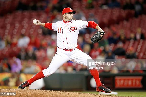 Jason Marquis of the Cincinnati Reds pitches in the eighth inning of the game against the Milwaukee Brewers at Great American Ball Park on April 27...