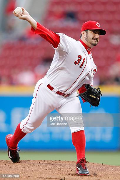 Jason Marquis of the Cincinnati Reds pitches in the first inning of the game against the Milwaukee Brewers at Great American Ball Park on April 27...