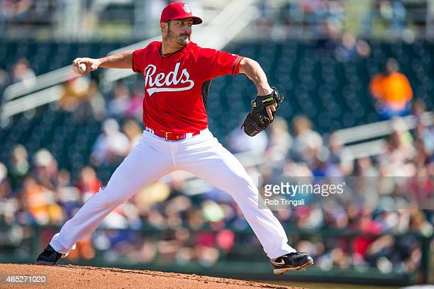 Jason Marquis of the Cincinnati Reds pitches in the second inning during a spring training game against the Cleveland Indians at Goodyear Ballpark on...