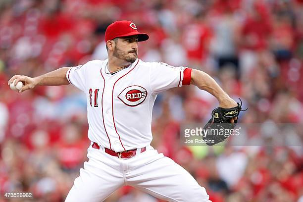 Jason Marquis of the Cincinnati Reds pitches in the third inning of the game against the San Francisco Giants at Great American Ball Park on May 15...