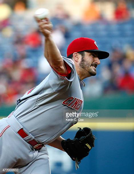 Jason Marquis of the Cincinnati Reds pitches in the third inning to the Atlanta Braves at Turner Field on May 2 2015 in Atlanta Georgia