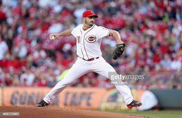 Jason Marquis of the Cincinnati Reds throws a pitch against the St Louis Cardinals in the game at Great American Ball Park on April 10 2015 in...
