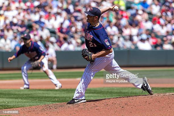 Jason Marquis of the Minnesota Twins pitches against the Cleveland Indians May 15 2012 at Target Field in Minneapolis Minnesota The Cleveland Indians...