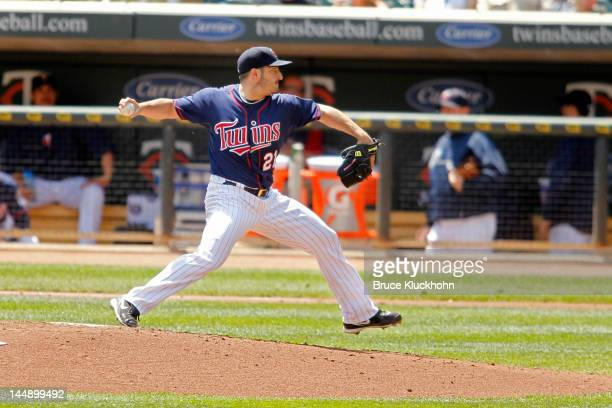 Jason Marquis of the Minnesota Twins pitches to the Cleveland Indians on May 15 2012 at Target Field in Minneapolis Minnesota The Indians win 50