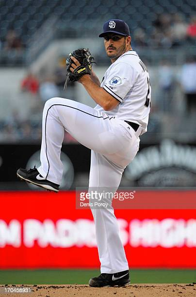 Jason Marquis of the San Diego Padres pitches during a baseball game against the Atlanta Braves at Petco Park on June 10 2013 in San Diego California