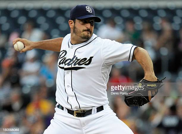 Jason Marquis of the San Diego Padres pitches during the first inning of a baseball game against the Pittsburgh Pirates at Petco Park on August 21...
