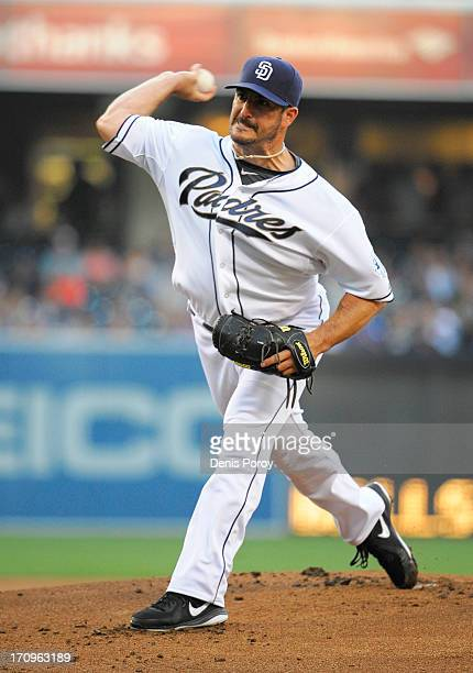 Jason Marquis of the San Diego Padres pitches during the first inning of a baseball game against the Los Angeles Dodgers at Petco Park on June 20...