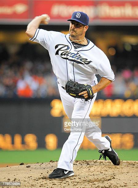 Jason Marquis of the San Diego Padres pitches during the first inning of a baseball game against the San Francisco Giants at Petco Park on July 11...