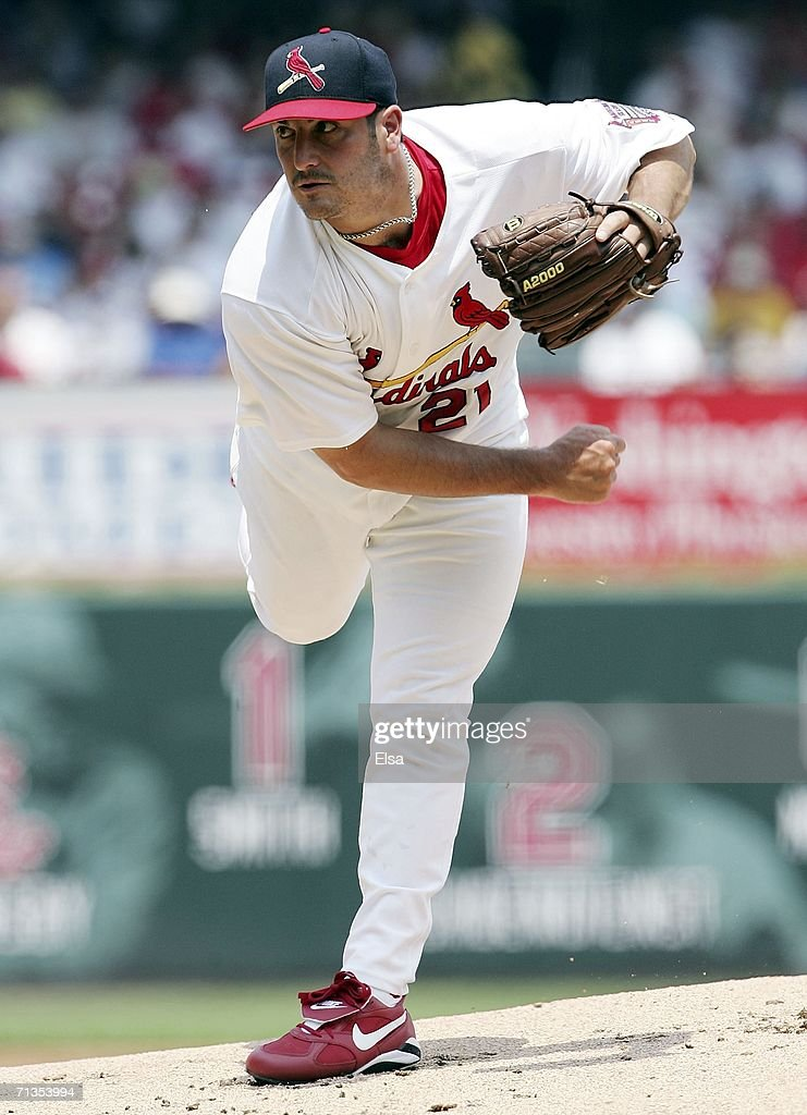 Jason Marquis #21 of the St. Louis Cardinals delivers a pitch against the Kansas City Royals on July 2, 2006 at Busch Stadium in St. Louis, Missouri. The St. Louis Cardinals defeated the Kansas City Royals 9-7.