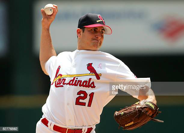 Jason Marquis of the St Louis Cardinals delivers a pitch in the first inning against the San Diego Padres on May 8 2005 at Busch Stadium in St Louis...
