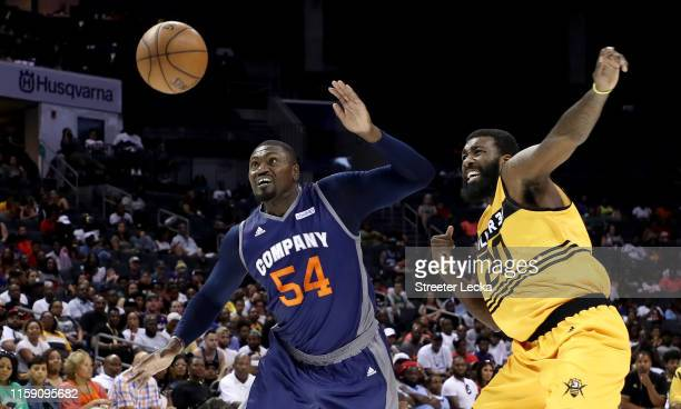 Jason Maxiell of 3's Company and Donte Greene of Killer 3s compete for possession during week two of the BIG3 three on three basketball league at...