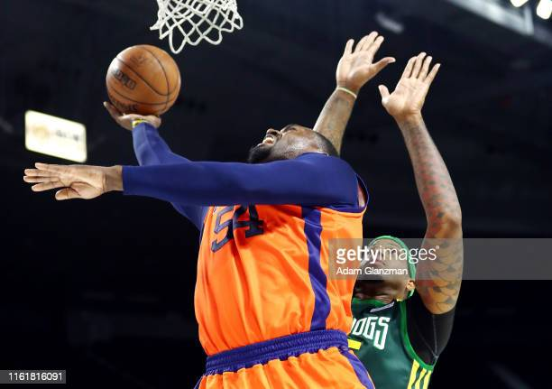 Jason Maxiell of 3's Company shoots the ball against the Ball Hogs during week four of the BIG3 three on three basketball league at Dunkin' Donuts...