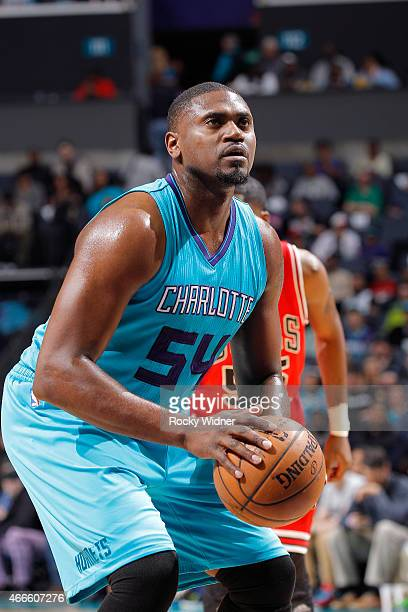 Jason Maxiell of the Charlotte Hornets attempts a free throw shot against the Chicago Bulls on March 13 2015 at Time Warner Cable Arena in Charlotte...