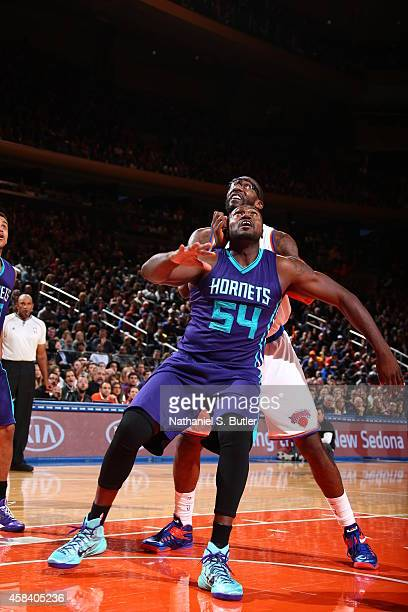 Jason Maxiell of the Charlotte Hornets boxes out for a rebound against the New York Knicks on November 2 2014 at Madison Square Garden in New York...