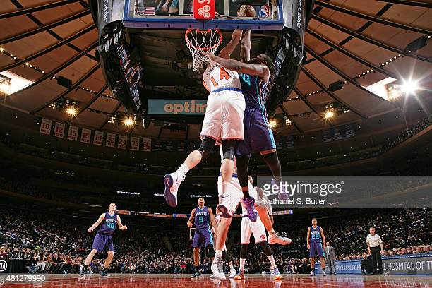 Jason Maxiell of the Charlotte Hornets goes up for a dunk against the New York Knicks during the game on January 10 2015 at Madison Square Garden in...