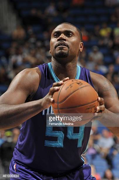 Jason Maxiell of the Charlotte Hornets prepares to shoot a free throw against the Orlando Magic on January 3 2015 at Amway Center in Orlando Florida...