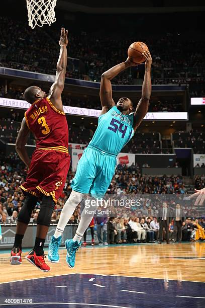 Jason Maxiell of the Charlotte Hornets shoots against the Cleveland Cavaliers during the game at the Time Warner Cable Arena on January 2 2015 in...