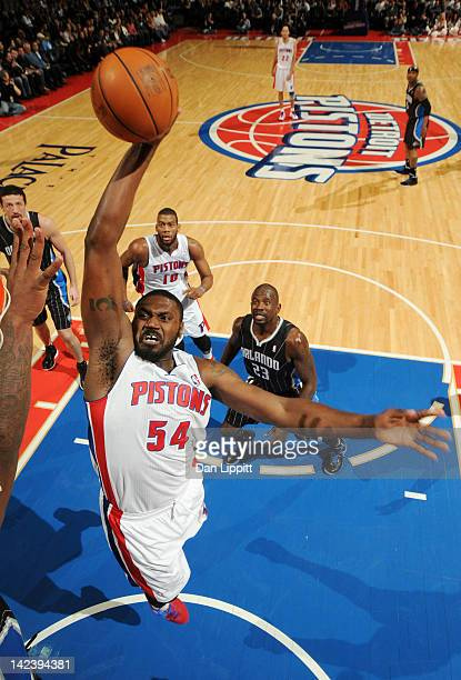 Jason Maxiell of the Detroit Pistons goes to the basket during the game against the Orlando Magic on April 3 2012 at The Palace of Auburn Hills in...