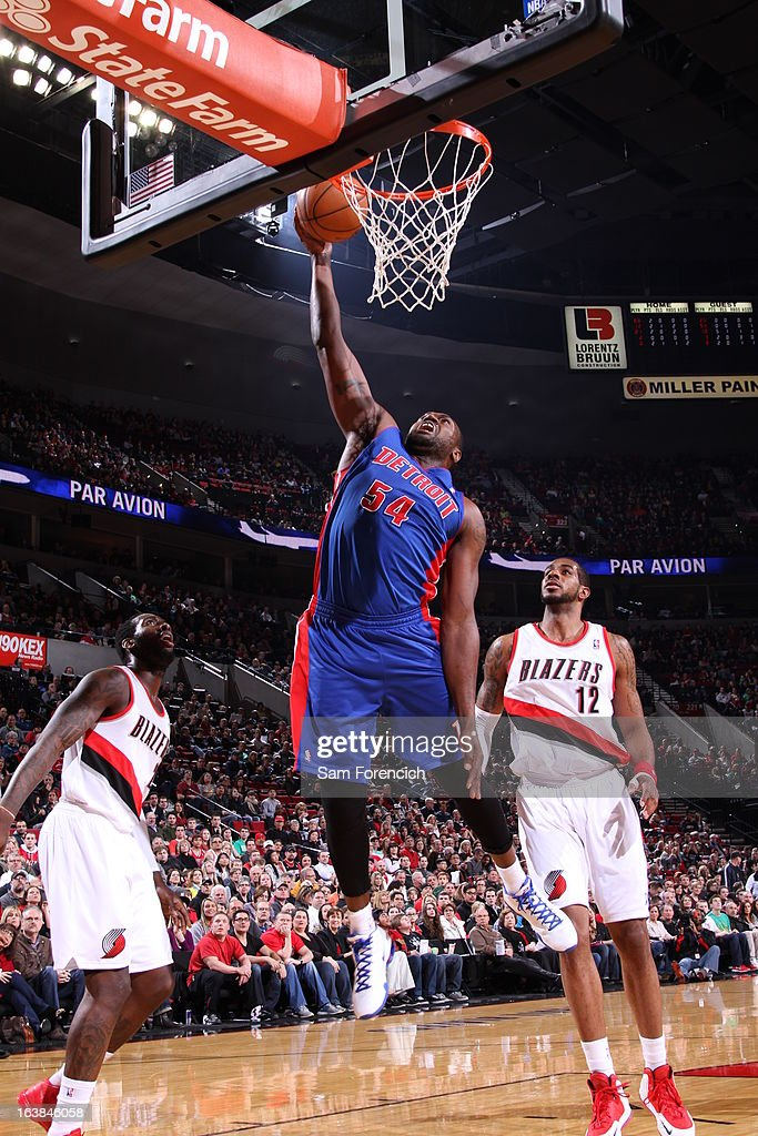 Jason Maxiell #54 of the Detroit Pistons goes to the basket during the game between the Detroit Pistons and the Portland Trail Blazers on March 16, 2013 at the Rose Garden Arena in Portland, Oregon.