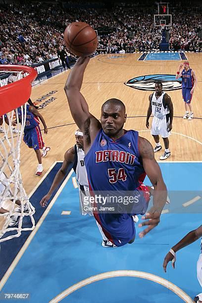Jason Maxiell of the Detroit Pistons goes up for the shot during the NBA game against the Dallas Mavericks on January 9 2008 at American Airlines...
