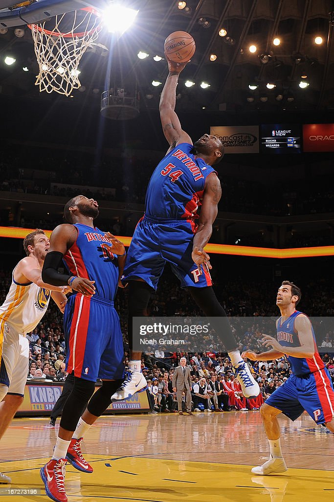 Jason Maxiell #54 of the Detroit Pistons grabs a rebound against against the Golden State Warriors on March 13, 2013 at Oracle Arena in Oakland, California.
