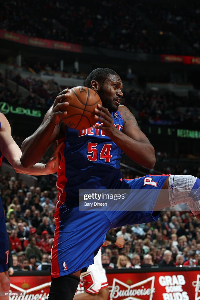 Jason Maxiell #54 of the Detroit Pistons grabs a rebound against the Chicago Bulls on January 23, 2012 at the United Center in Chicago, Illinois.