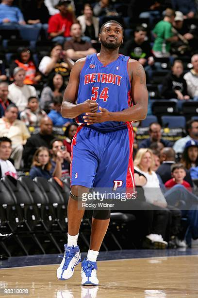 Jason Maxiell of the Detroit Pistons looks up during the game against the Golden State Warriors on February 27 2009 at Oracle Arena in Oakland...