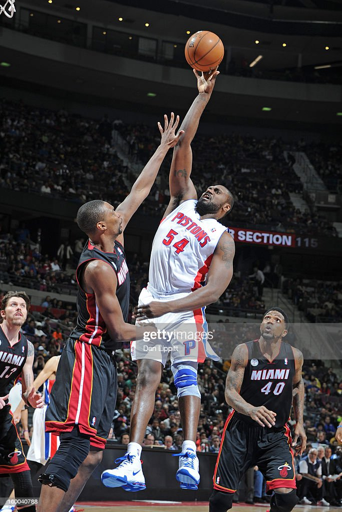 Jason Maxiell #54 of the Detroit Pistons puts up a shot against the Miami Heat on December 28, 2012 at The Palace of Auburn Hills in Auburn Hills, Michigan.