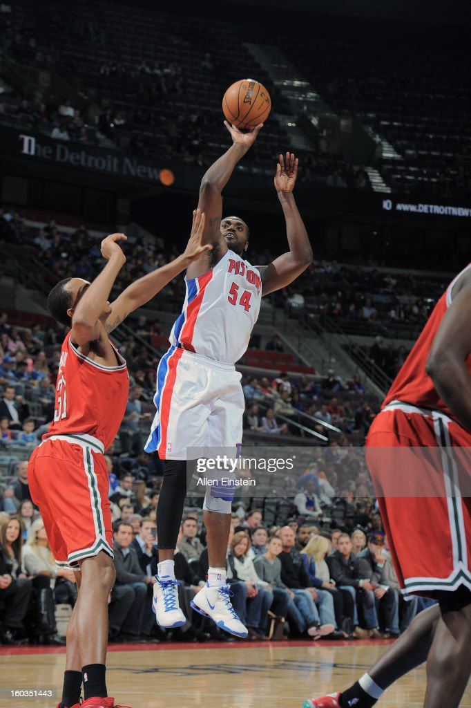 Jason Maxiell #54 of the Detroit Pistons takes a fade-away shot against the Milwaukee Bucks during the game on January 29, 2013 at The Palace of Auburn Hills in Auburn Hills, Michigan.