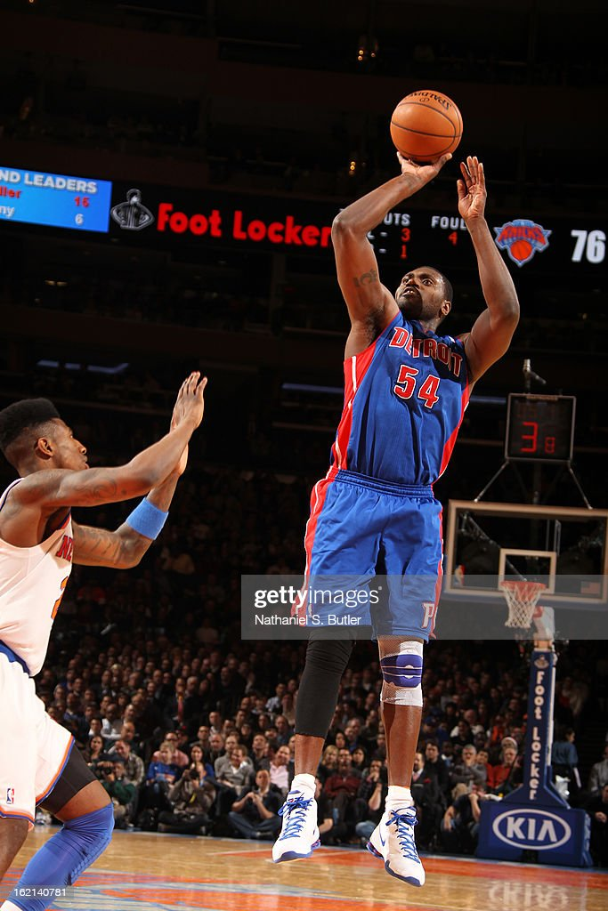 Jason Maxiell #54 of the Detroit Pistons takes a shot against the New York Knicks on February 4, 2013 at Madison Square Garden in New York City.