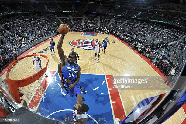 Jason Maxiell of the Orlando Magic dunks against the Detroit Pistons on January 28 2014 at The Palace of Auburn Hills in Auburn Hills Michigan NOTE...