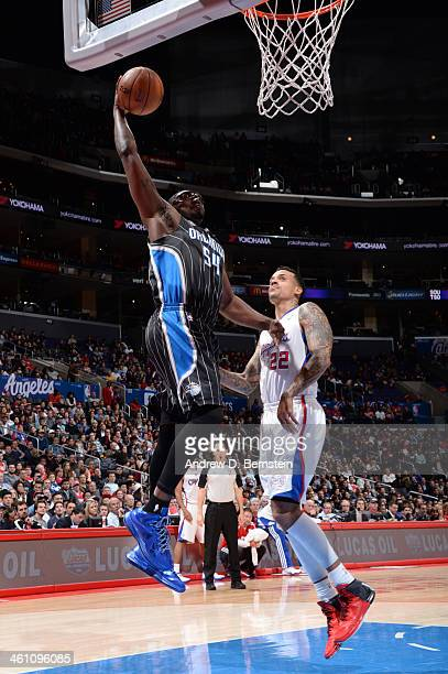 Jason Maxiell of the Orlando Magic dunks during a game against the Los Angeles Clippers at STAPLES Center on January 6 2014 in Los Angeles California...