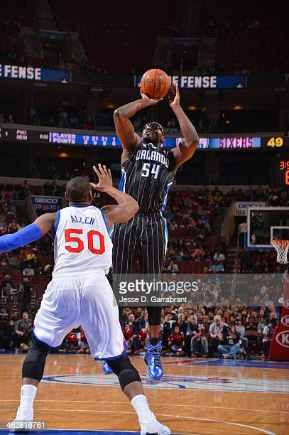 Jason Maxiell of the Orlando Magic shoots the ball against the Philadelphia 76ers at the Wells Fargo Center on December 3 2013 in Philadelphia...
