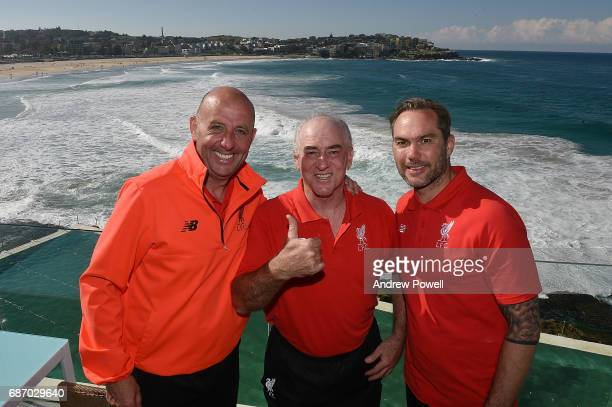 Jason McAteer Gary McAllister and Craig Johnston legends of Liverpool during a visit to Bondi Beach on May 23 2017 in Sydney Australia