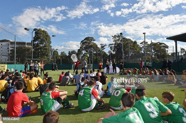 Jason Mcateer legend of Liverpool during a question and answer with under 16's during the Ultimate Soccer tournament on May 20 2017 in Sydney...