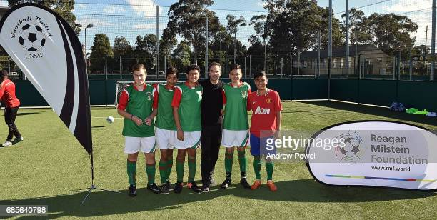 Jason Mcateer legend of Liverpool poses for a photograph with under 16's during the Ultimate Soccer tournament on May 20 2017 in Sydney Australia