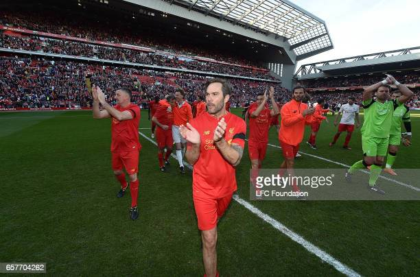 Jason McAteer Legends at the end of the LFC Foundation Charity Match between Liverpool Legends and Real Madrid Legends at Anfield on March 25 in...