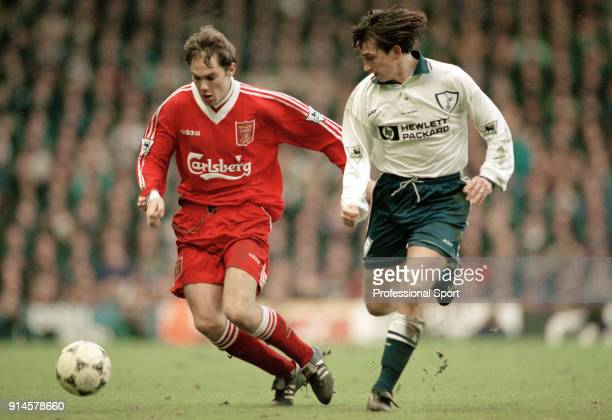 Jason McAteer of Liverpool and Justin Edinburgh of Tottenham Hotspur in action during an FA Carling Premiership match at Anfield on February 3 1996...