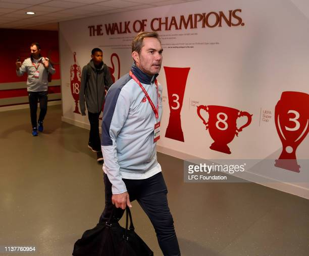 Jason Mcateer of Liverpool FC Legends arriving before the friendly match between Liverpool FC Legends and AC Milan Glorie at Anfield on March 23 2019...