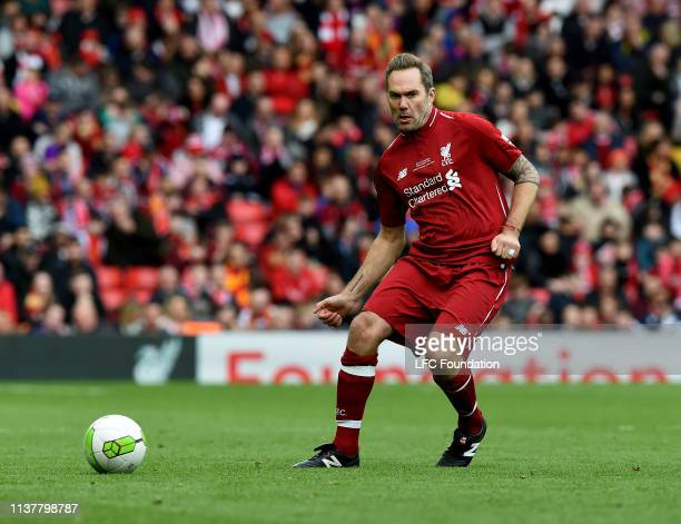 Jason McAteer of Liverpool FC Legends during the friendly match between Liverpool FC Legends and AC Milan Glorie at Anfield on March 23 2019 in...