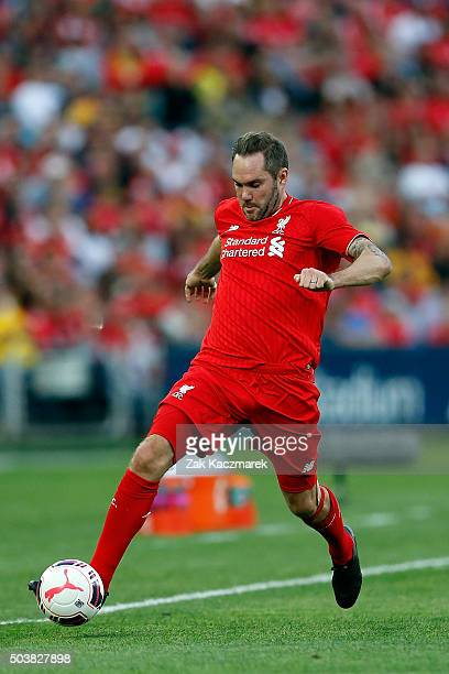 Jason McAteer of Liverpool FC Legends lcontrols the ball during the match between Liverpool FC Legends and the Australian Legends at ANZ Stadium on...