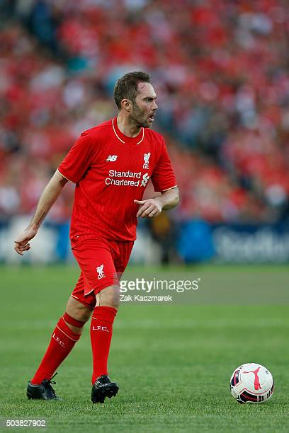 Jason McAteer of Liverpool FC Legends looks to cross the ball during the match between Liverpool FC Legends and the Australian Legends at ANZ Stadium...
