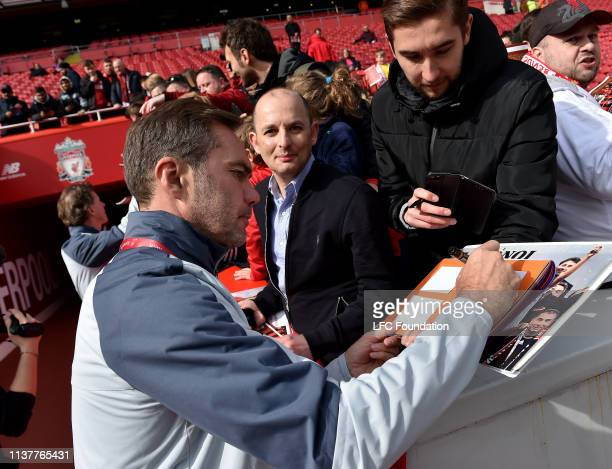 Jason Mcateer of Liverpool Legends signs a shirt before the friendly match between Liverpool FC Legends and AC Milan Glorie at Anfield on March 23...