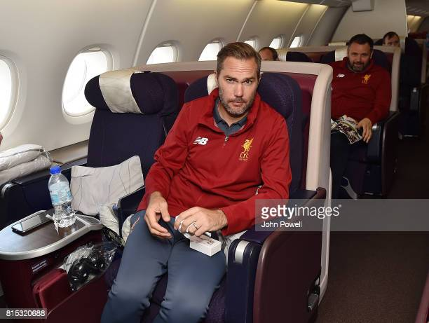 Jason Mcateer of Liverpool on the plane before pre season tour at Manchester Airport on July 16 2017 in Liverpool England