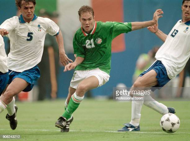Jason McAteer of the Republic of Ireland in action against Italy during a FIFA World Cup Group E match at Giants Stadium in East Rutherford New...