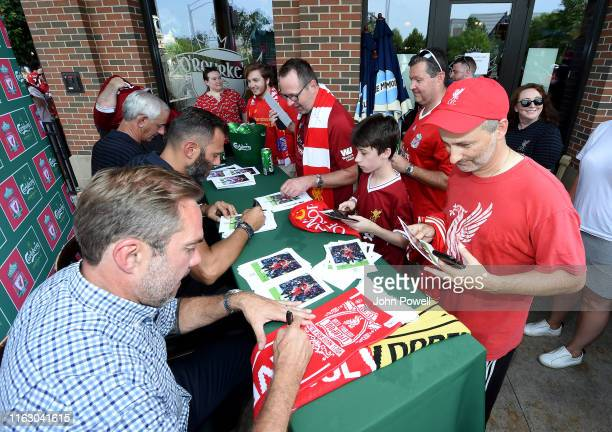 Jason McAteer Patrik Berger and Ian Rush Legends of Liverpool during a meet and greet with Liverpool fans at O'Rourke's on July 19 2019 in South Bend...