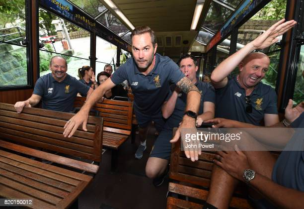 Jason McAteer Robbie Fowler Gary McAllister Legends of Liverpool and Peter Moore CEO of Liverpool visit the tram to get to the Peak on July 21 2017...